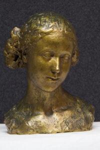 Jean Osouf, Buste de Coralie. Bronze doré, collection Musée Despiau-Wlérick. ©Paul Soubiron, service communication, Mont-de-Marsan agglomération