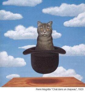 tableau de Magritte Chat chapeau