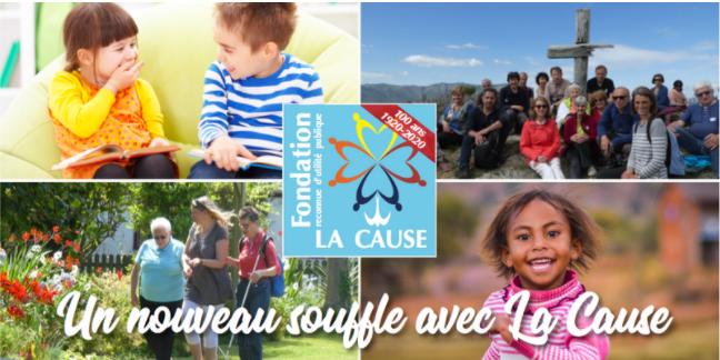 Logo de La Cause, annonce les 100 ans de la fondation.